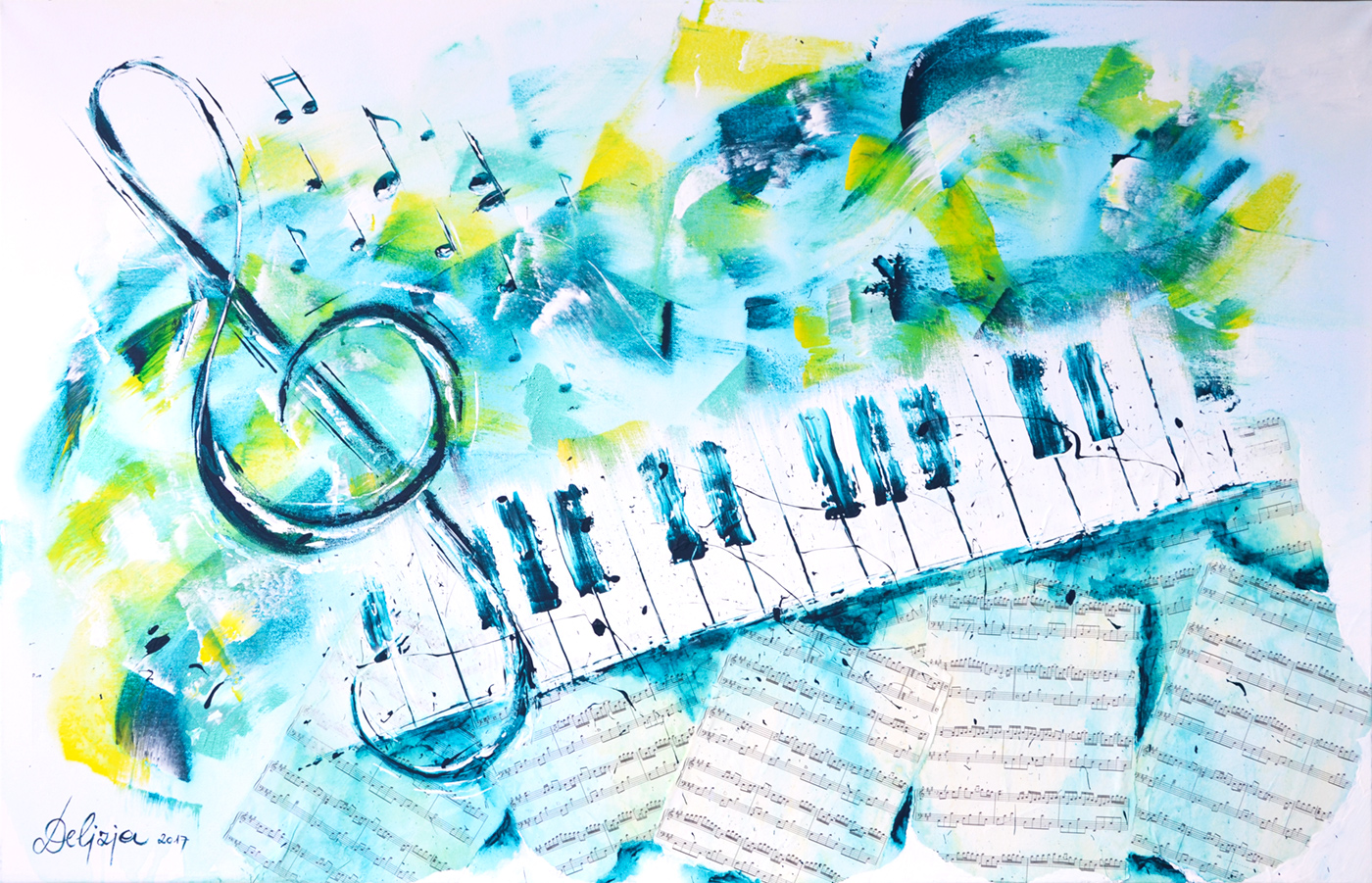 "Acrylbild Piano ""River flows in you"""