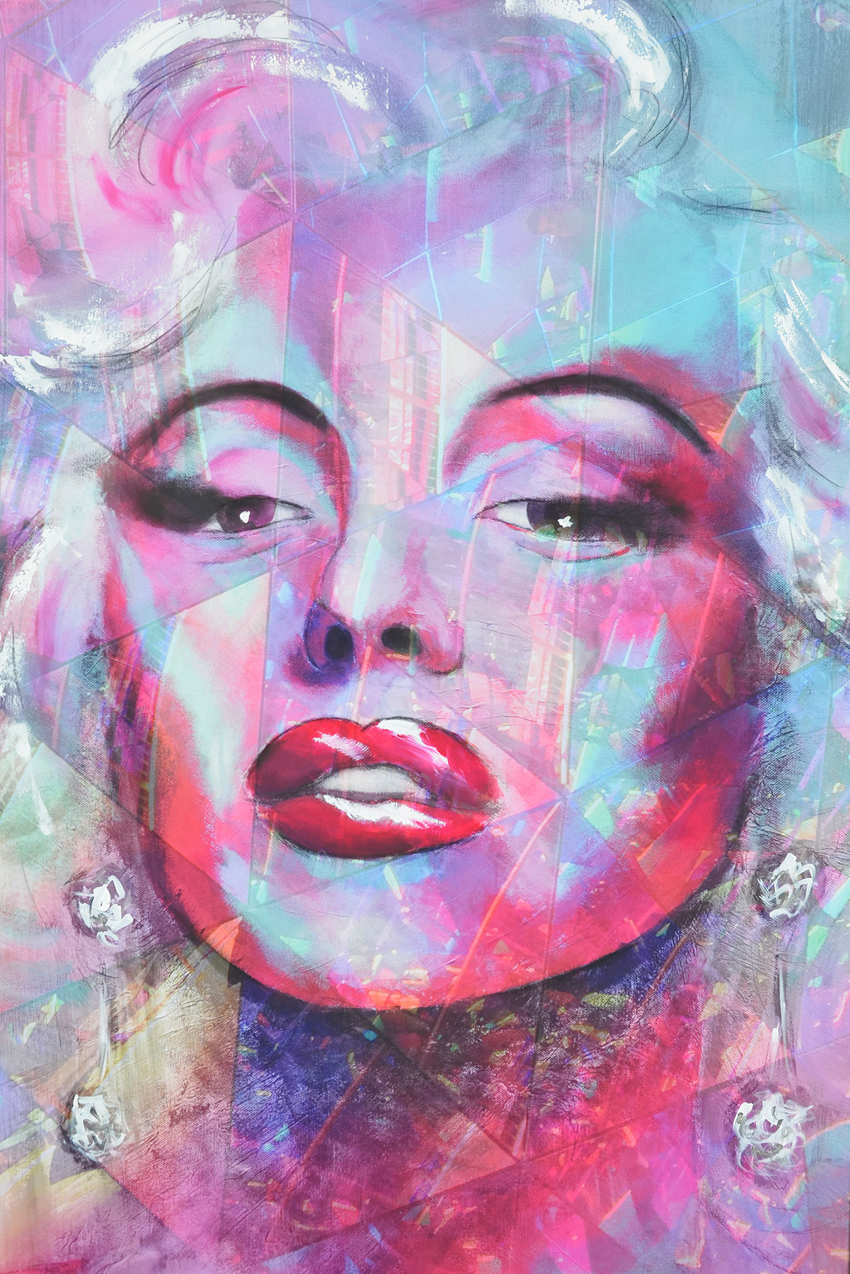 "Acrylbild Portrait ""Crystal MARILYN in PINK"""